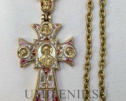 Крест наперсный латунный в позолоте с горячей эмалью