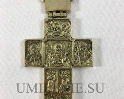 Крест наперсный латунный в позолоте с горячей эмалью и цепью