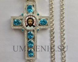 Крест наперсный в серебрении с цепью