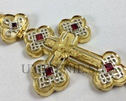 Крест наперсный латунный в позолоте с цепью
