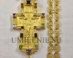 Крест наперсный серебряный в позолоте с цепью