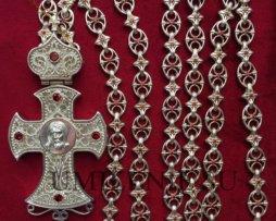 Крест-мощевик наперсный латунный в серебрении с цепью