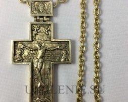 Крест наперсный латунный без покрытия с цепью