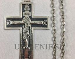 Крест наперсный латунный с чернением с цепью из ювелирного сплава