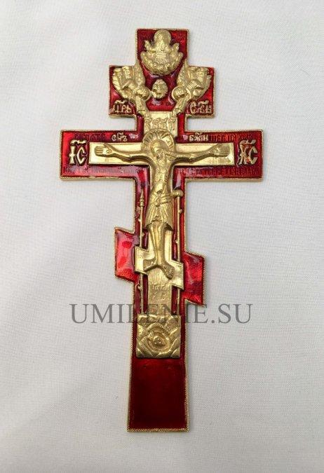 """Крест киотный """"Распятие Христово"""" с эмалью"""