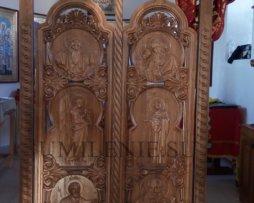Царские врата дубовые с резными иконами