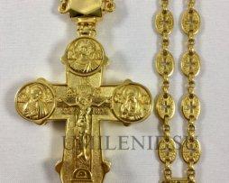 Крест-мощевик латунный в позолоте с цепью