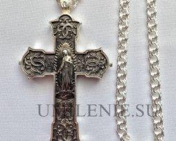 Крест-мощевик наперсный кабинетный серебряный с цепью