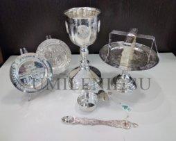 Евхаристический набор латунный в серебрении с потиром на 0,75 литра