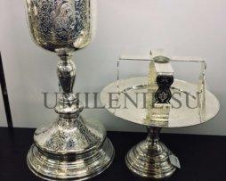 Евхаристический набор латунный в серебрении с потиром на 1 литр