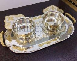 Набор для архиерейской запивки латунный в серебрении с фрагментарной позолотой
