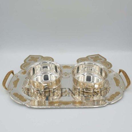 Набор для архиерейской запивки латунный с фрагментарной позолотой