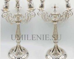 Комплект архиерейский: дикирий и трикирий латунные в серебрении