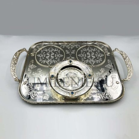 Поднос для архиерейской запивки латунный в серебрении