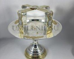 Дискос и звездица латунные в серебрении с фрагментарной позолотой