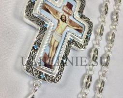 Крест наперсный латунный в серебрении с родированием и цепью