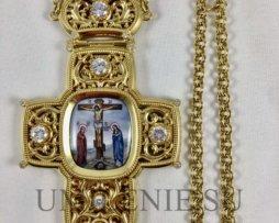 Крест наперсный латунный в позолоте с финифтевым распятием и цепью