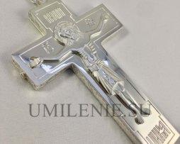 Крест-мощевик наперсный латунный в серебрении без цепи
