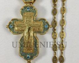 Крест-мощевик наперсный латунный в позолоте с эмалью и цепью