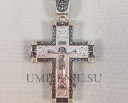 Крест нательный латунный в серебрении без цепи