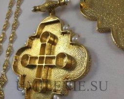 Крест-мощевик наперсный латунный в позолоте с цепью