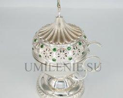 Кадильница латунная в серебрении со вставками