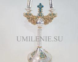 Комплект архиерейский: трикирий и дикирий латунный в серебрении с эмалью
