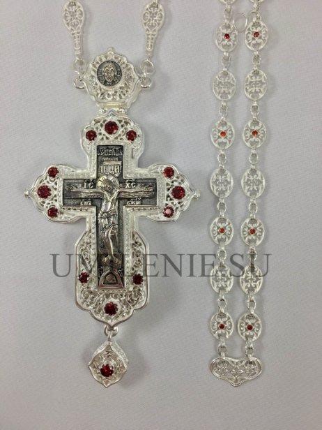 Крест-мощевик наперсный латунный в серебрении и чернении с цепью