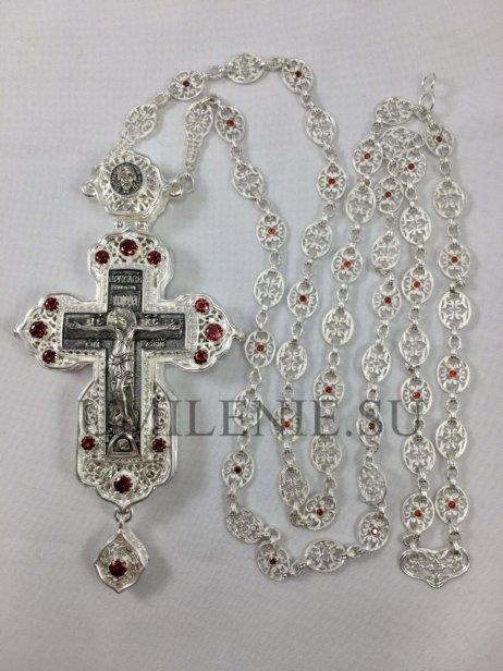 Крест наперсный латунный в серебрении и чернении с цепью