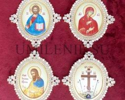 Икона на митру латунная в позолоте (комплект)