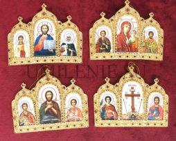 Икона триптих на митру латунная в позолоте (комплект)