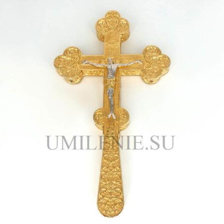 Крест требный латунный в позолоте