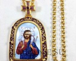 Панагия латунная в позолоте с эмалью и цепью