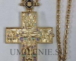 """Крест-мощевик серебряный в позолоте с эмалью и цепью """"копеечка"""""""