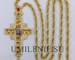 Крест наперсный из бижутерного сплава с цепью