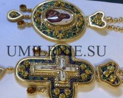 Архиерейский наперсный комплект латунный в позолоте с финифтью, эмалью и цепями