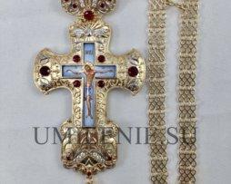 Крест наперсный серебряный с финифтью и цепью