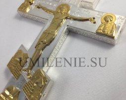 Крест-мощевик требный латунный с фрагментарной позолотой