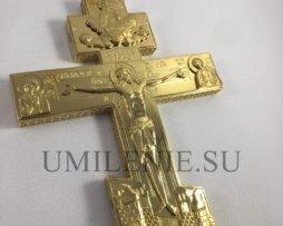 Крест-мощевик требный латунный в позолоте
