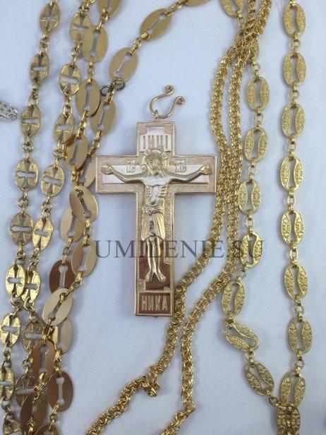 Крест-мощевик латунный в позолоте без цепи