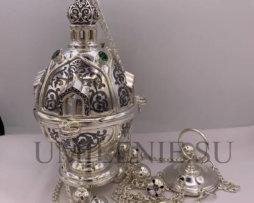 Кадило латунное в серебрении с оксидированием
