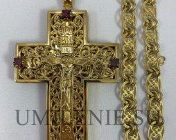 Крест-мощевик латунный позолоте с цепью