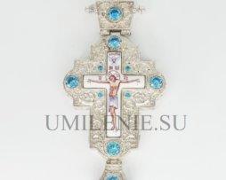 Крест наперсный серебряный с финифтью без цепи