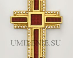 Крест на скуфью серебряный в позолоте с эмалью