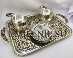 Набор для архиерейской запивки латунный в серебрении с родированием