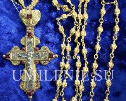 Крест-мощевик латунный с фрагментарной позолотой и цепью