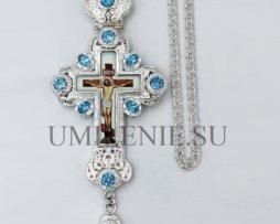 Крест наперсный латунный в серебрении с цепью