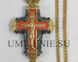 Крест наперсный латунный в позолоте с чернением и цепью